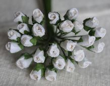 4mm WHITE ROSE BUDS Mulberry Paper Flowers